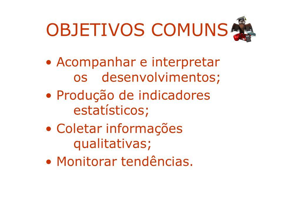 OBJETIVOS COMUNS: Acompanhar e interpretar os desenvolvimentos; Produção de indicadores estatísticos; Coletar informações qualitativas; Monitorar tend