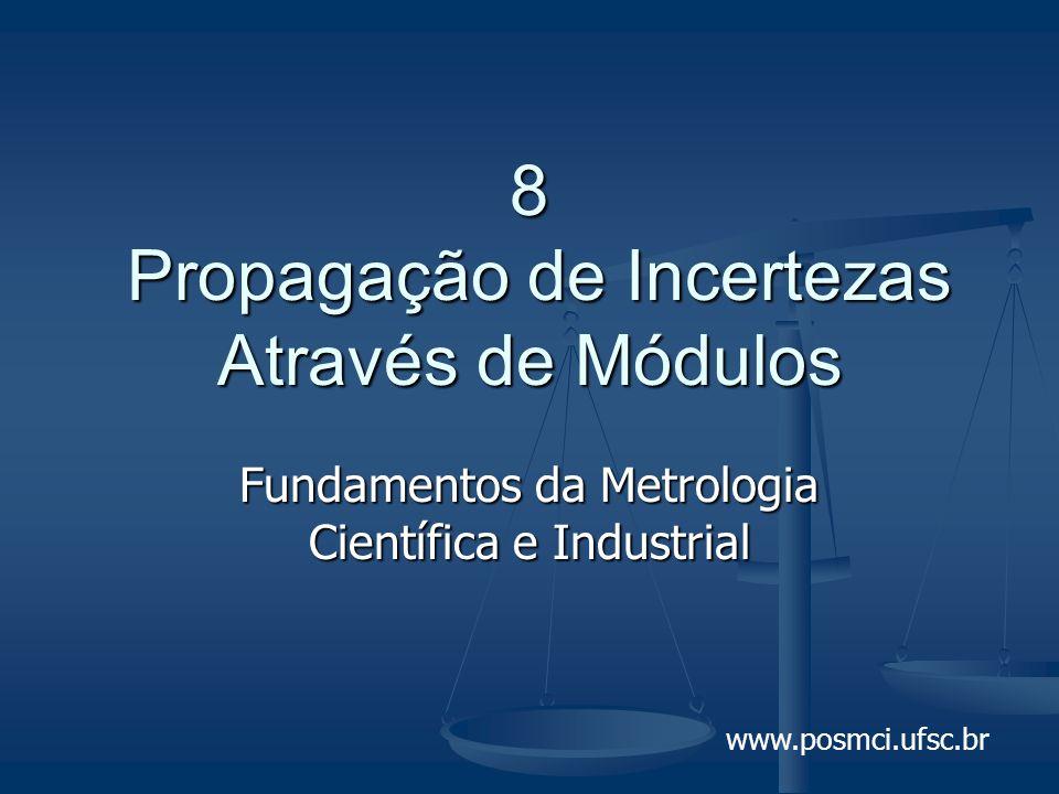 www.posmci.ufsc.br 8 Propagação de Incertezas Através de Módulos Fundamentos da Metrologia Científica e Industrial
