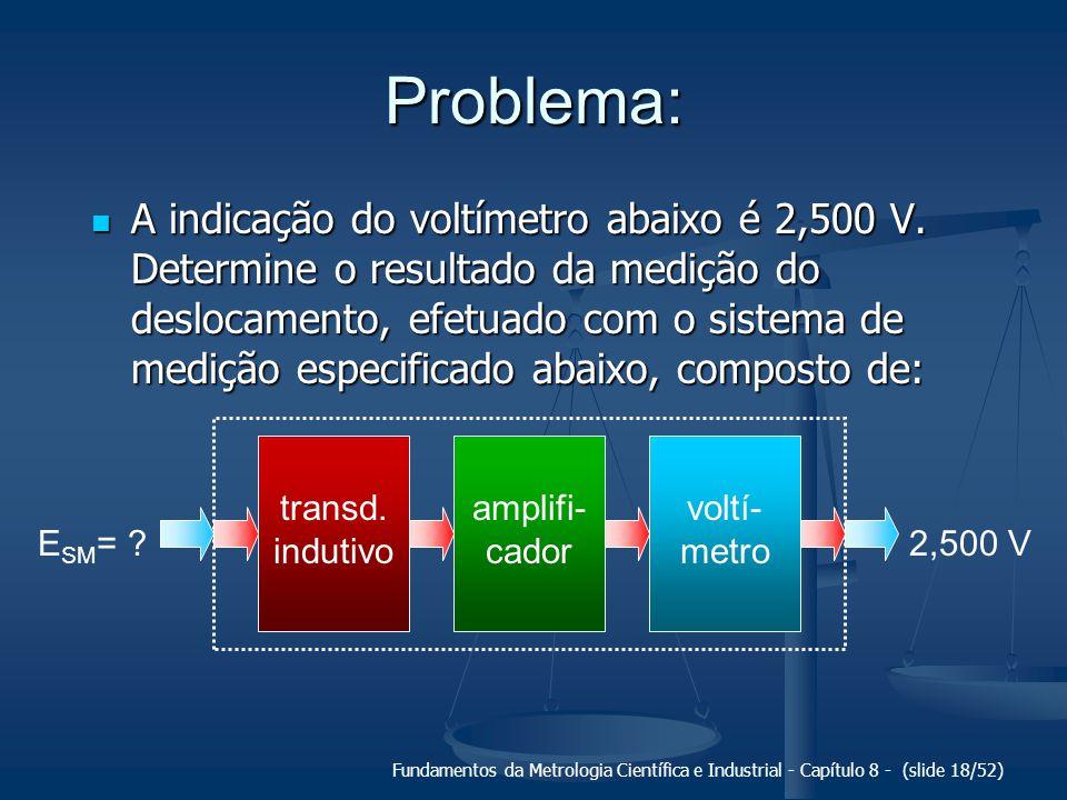 Fundamentos da Metrologia Científica e Industrial - Capítulo 8 - (slide 18/52) Problema: A indicação do voltímetro abaixo é 2,500 V.
