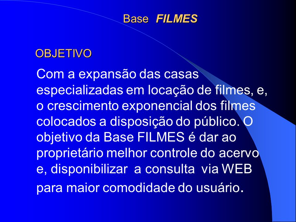 APRESENTAÇÃO A base FILMES, foi desenvolvida com os campos necessários para o controle de multimeios, especialmente para acervos cinematográficos, utilizando o software Micro CDS/ISIS (Computerized Documentation System/ Integrated Set for Information System) para Windows, disponibilizado gratuitamente, pela Unesco.