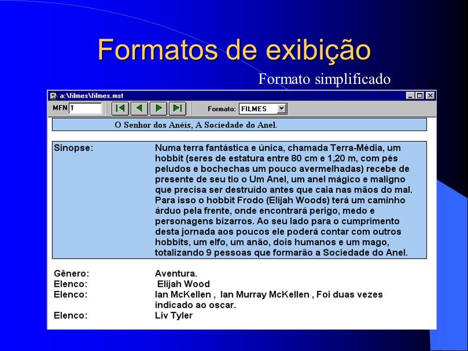 Formatos de exibição Formato simplificado