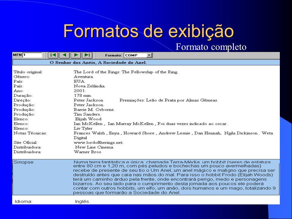 Formatos de exibição Formato completo