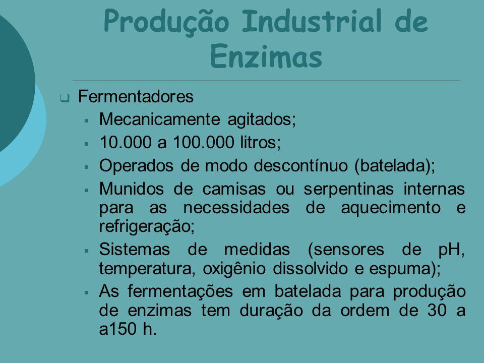 Produção Industrial de Enzimas Fermentadores Mecanicamente agitados; 10.000 a 100.000 litros; Operados de modo descontínuo (batelada); Munidos de cami