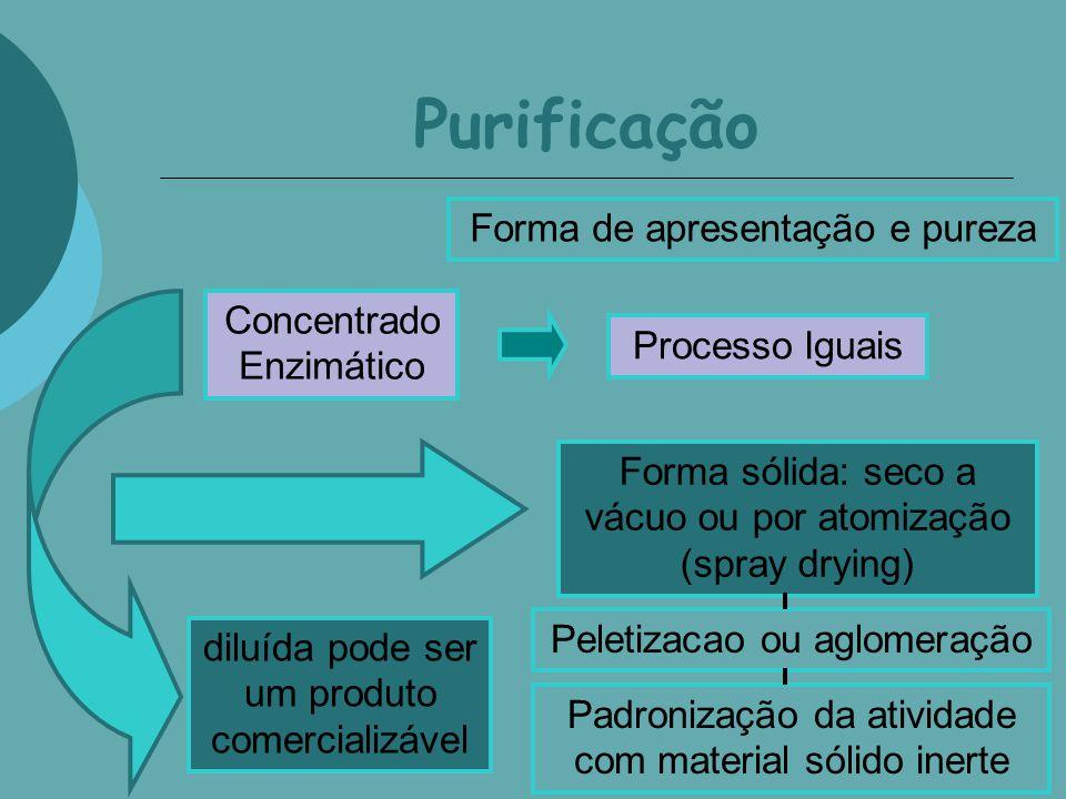 Purificação Concentrado Enzimático Processo Iguais Forma de apresentação e pureza diluída pode ser um produto comercializável Forma sólida: seco a vác