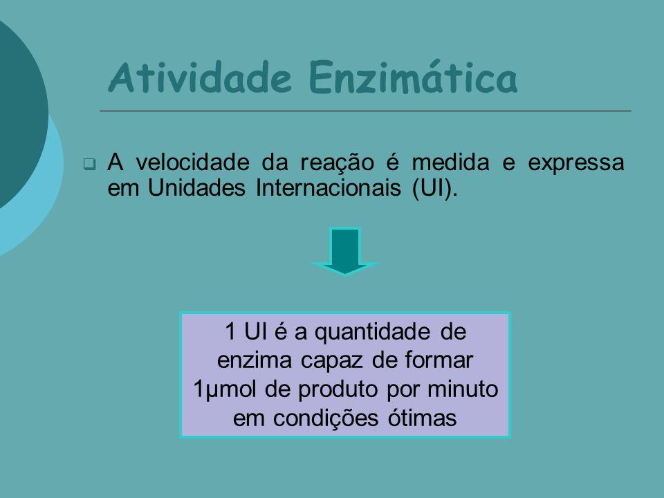Atividade Enzimática A velocidade da reação é medida e expressa em Unidades Internacionais (UI). 1 UI é a quantidade de enzima capaz de formar 1µmol d