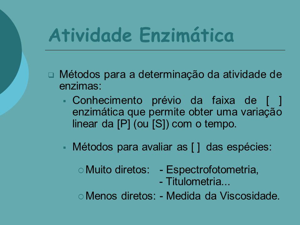 Atividade Enzimática Métodos para a determinação da atividade de enzimas: Conhecimento prévio da faixa de [ ] enzimática que permite obter uma variaçã