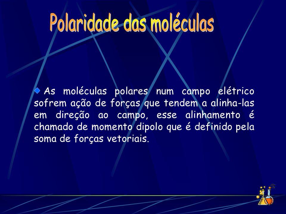 As moléculas polares num campo elétrico sofrem ação de forças que tendem a alinha-las em direção ao campo, esse alinhamento é chamado de momento dipol