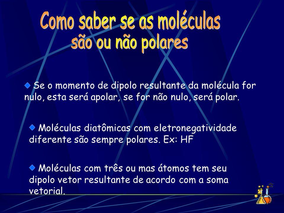 Se o momento de dipolo resultante da molécula for nulo, esta será apolar, se for não nulo, será polar. Moléculas diatômicas com eletronegatividade dif