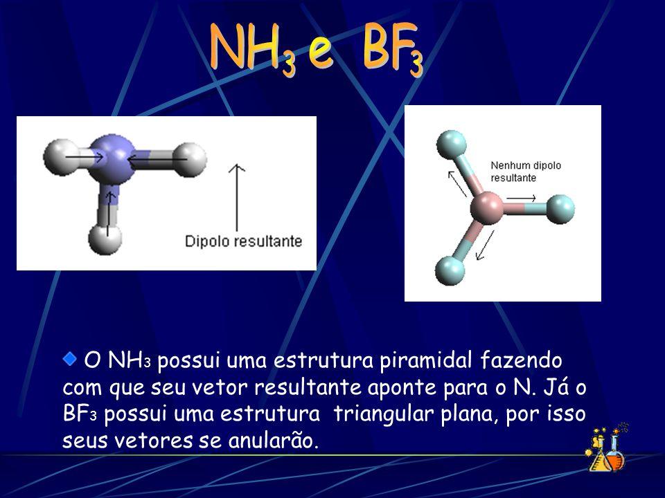 O NH 3 possui uma estrutura piramidal fazendo com que seu vetor resultante aponte para o N. Já o BF 3 possui uma estrutura triangular plana, por isso