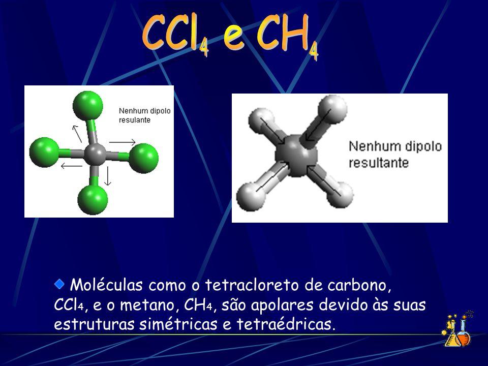 Moléculas como o tetracloreto de carbono, CCl 4, e o metano, CH 4, são apolares devido às suas estruturas simétricas e tetraédricas.