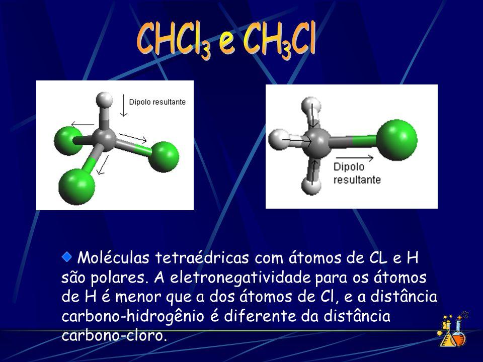 Moléculas tetraédricas com átomos de CL e H são polares. A eletronegatividade para os átomos de H é menor que a dos átomos de Cl, e a distância carbon