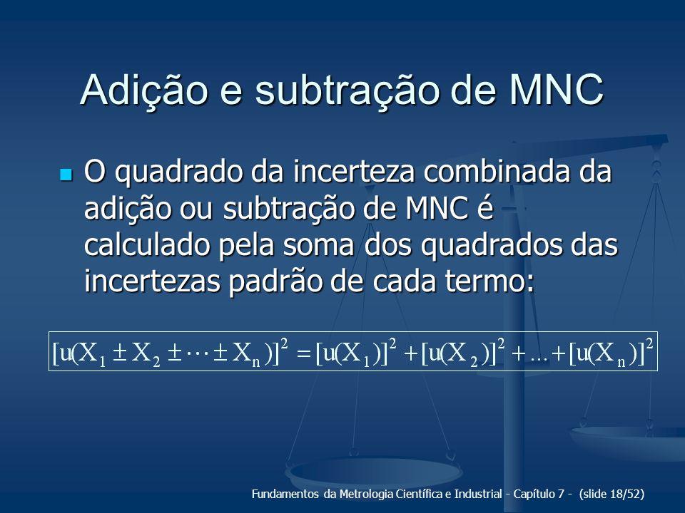 Fundamentos da Metrologia Científica e Industrial - Capítulo 7 - (slide 18/52) Adição e subtração de MNC O quadrado da incerteza combinada da adição o