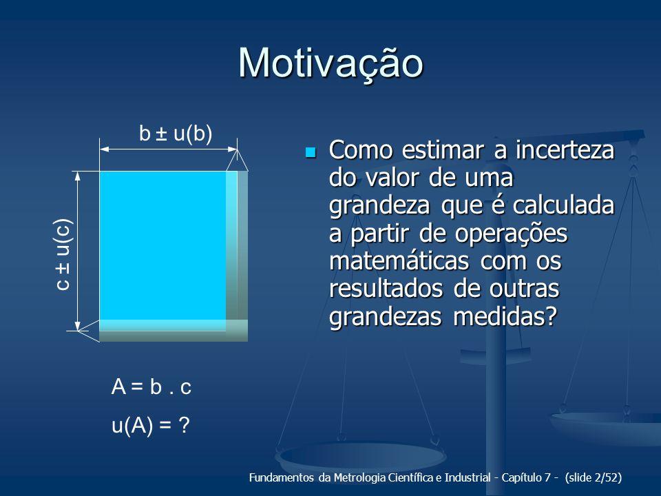 Fundamentos da Metrologia Científica e Industrial - Capítulo 7 - (slide 2/52) Motivação Como estimar a incerteza do valor de uma grandeza que é calcul
