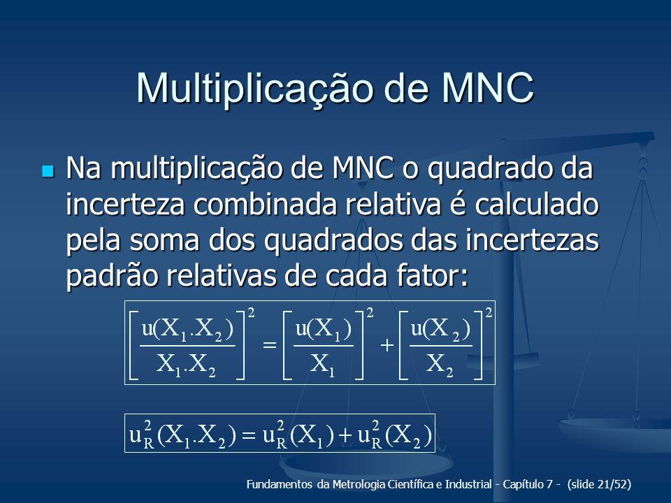 Fundamentos da Metrologia Científica e Industrial - Capítulo 7 - (slide 21/52) Multiplicação de MNC Na multiplicação de MNC o quadrado da incerteza co
