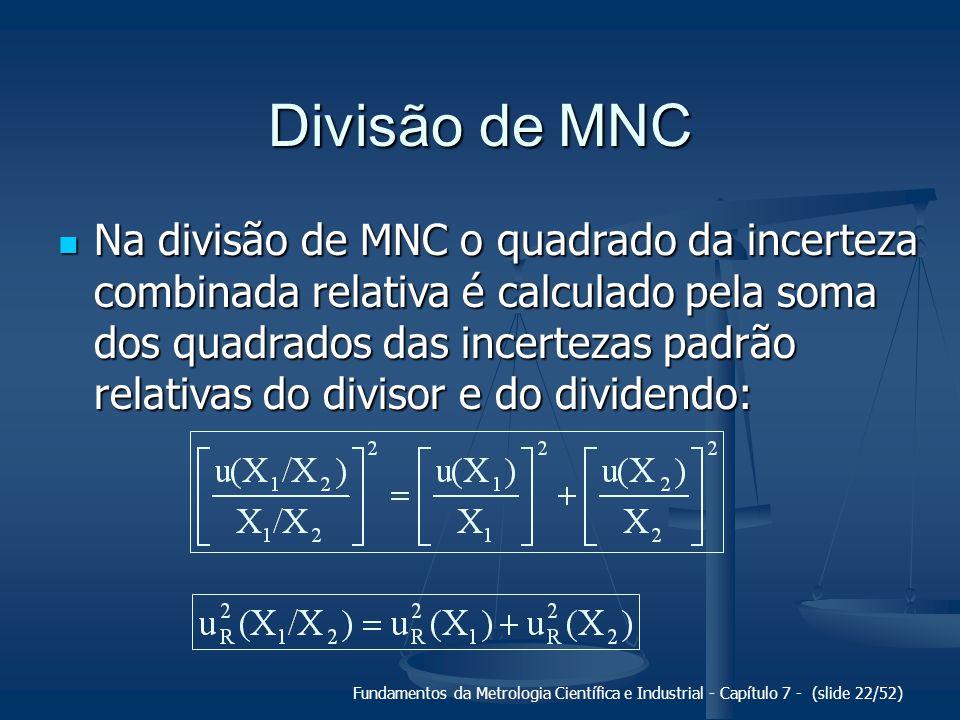 Fundamentos da Metrologia Científica e Industrial - Capítulo 7 - (slide 22/52) Divisão de MNC Na divisão de MNC o quadrado da incerteza combinada rela