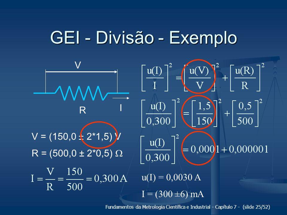 Fundamentos da Metrologia Científica e Industrial - Capítulo 7 - (slide 25/52) GEI - Divisão - Exemplo V R I V = (150,0 ± 2*1,5) V R = (500,0 ± 2*0,5)