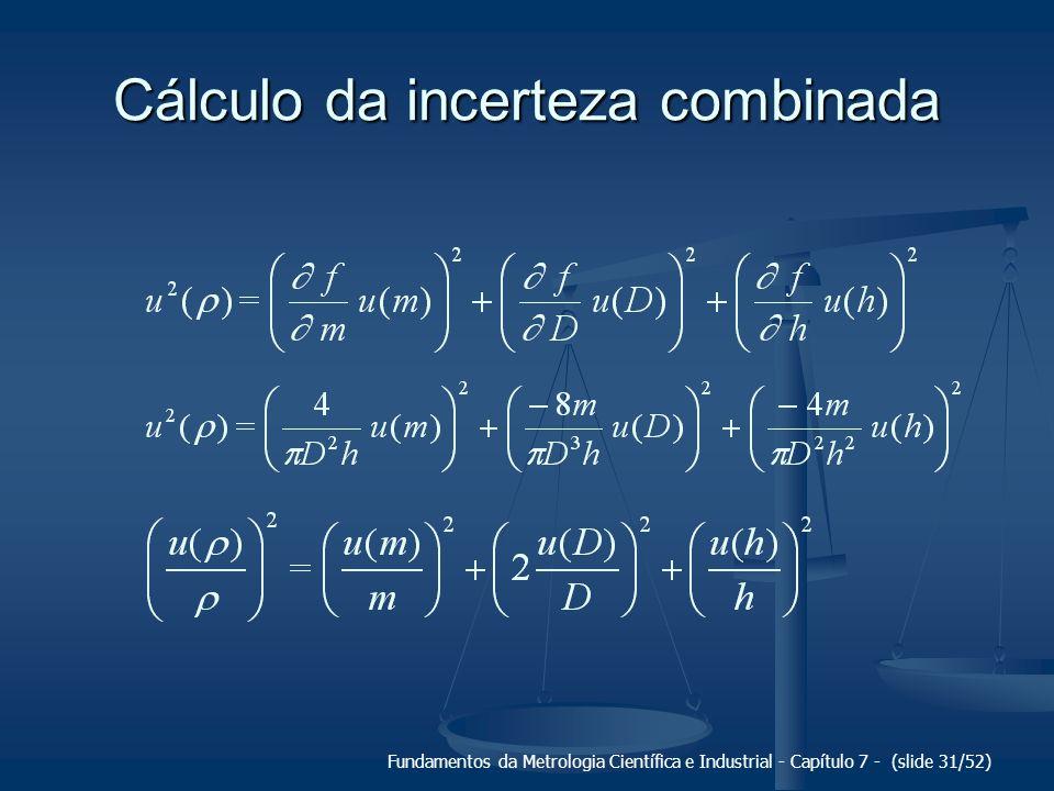 Fundamentos da Metrologia Científica e Industrial - Capítulo 7 - (slide 31/52) Cálculo da incerteza combinada