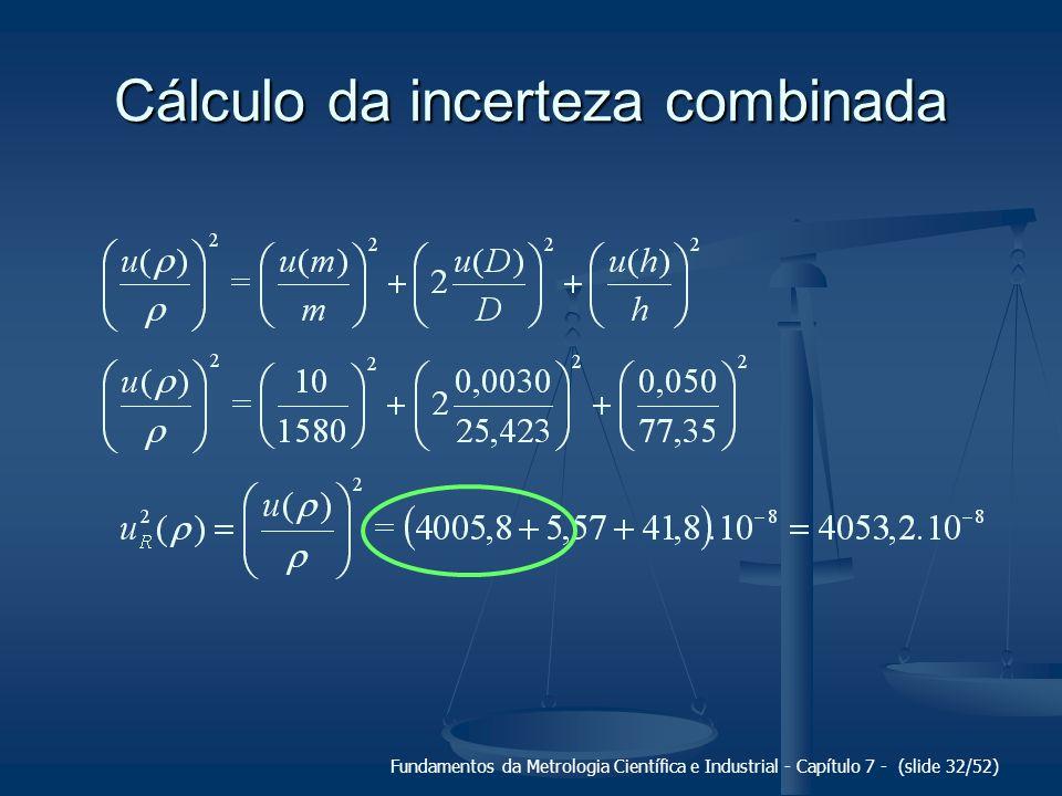 Fundamentos da Metrologia Científica e Industrial - Capítulo 7 - (slide 32/52) Cálculo da incerteza combinada