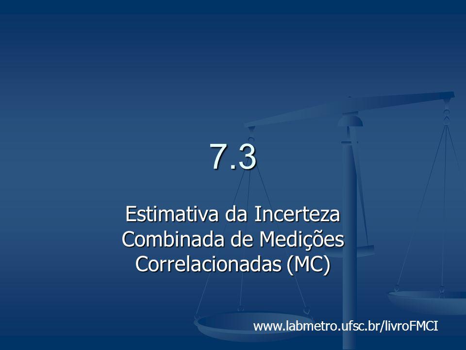 www.labmetro.ufsc.br/livroFMCI 7.3 Estimativa da Incerteza Combinada de Medições Correlacionadas (MC)