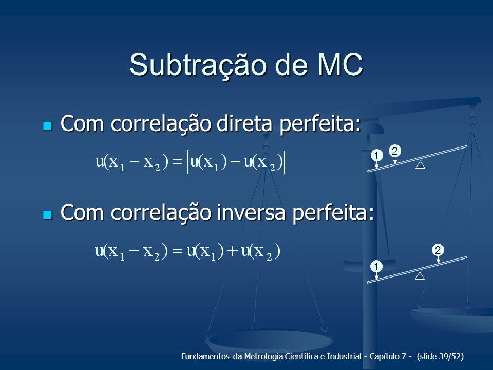 Fundamentos da Metrologia Científica e Industrial - Capítulo 7 - (slide 39/52) Subtração de MC Com correlação direta perfeita: Com correlação direta p