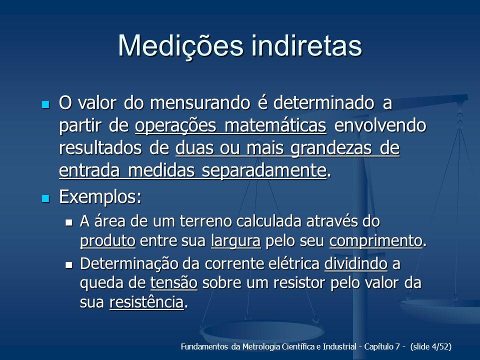 Fundamentos da Metrologia Científica e Industrial - Capítulo 7 - (slide 4/52) Medições indiretas O valor do mensurando é determinado a partir de opera