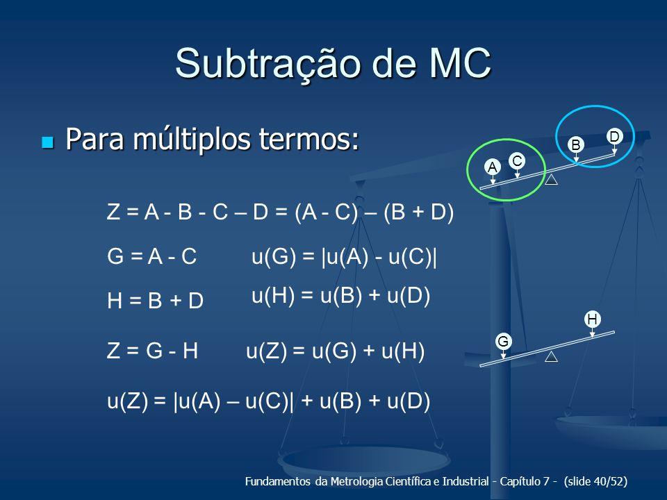 Fundamentos da Metrologia Científica e Industrial - Capítulo 7 - (slide 40/52) Subtração de MC Para múltiplos termos: Para múltiplos termos: A C B D Z
