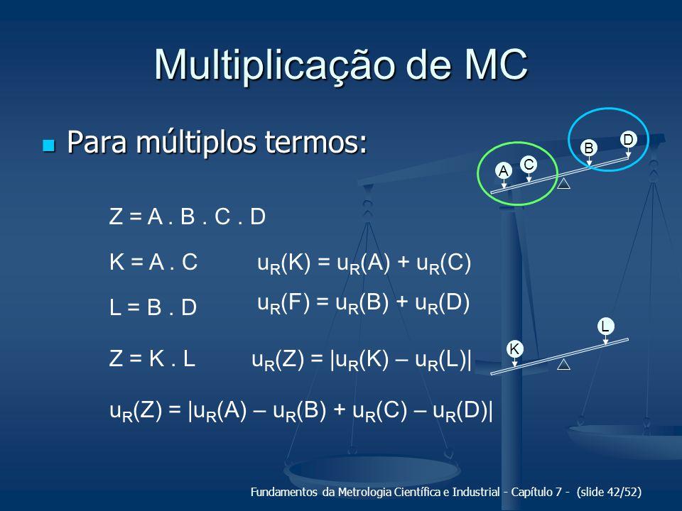 Fundamentos da Metrologia Científica e Industrial - Capítulo 7 - (slide 42/52) Multiplicação de MC Para múltiplos termos: Para múltiplos termos: A C B