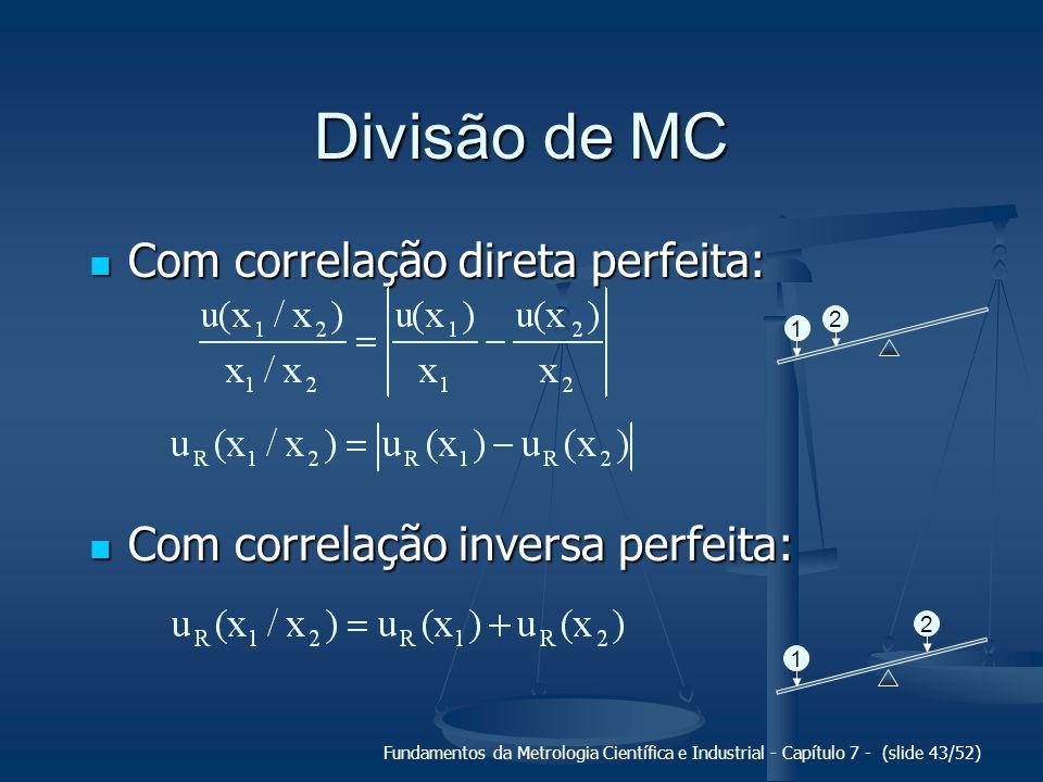 Fundamentos da Metrologia Científica e Industrial - Capítulo 7 - (slide 43/52) Divisão de MC Com correlação direta perfeita: Com correlação direta per