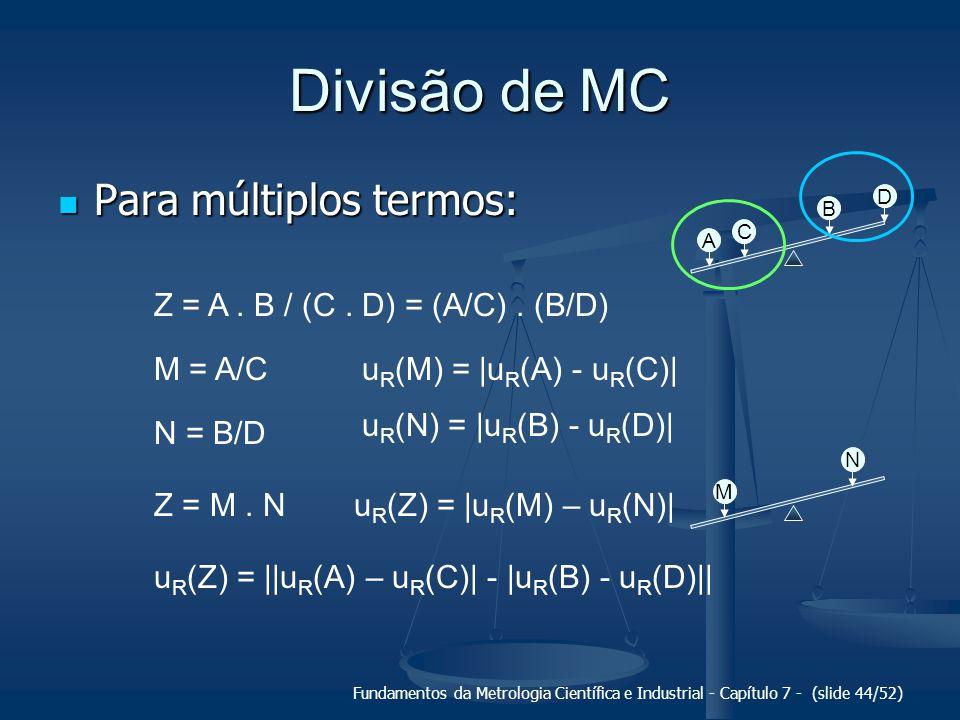 Fundamentos da Metrologia Científica e Industrial - Capítulo 7 - (slide 44/52) Divisão de MC Para múltiplos termos: Para múltiplos termos: A C B D Z =