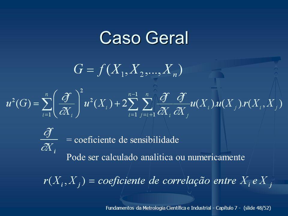 Fundamentos da Metrologia Científica e Industrial - Capítulo 7 - (slide 48/52) Caso Geral = coeficiente de sensibilidade Pode ser calculado analitica