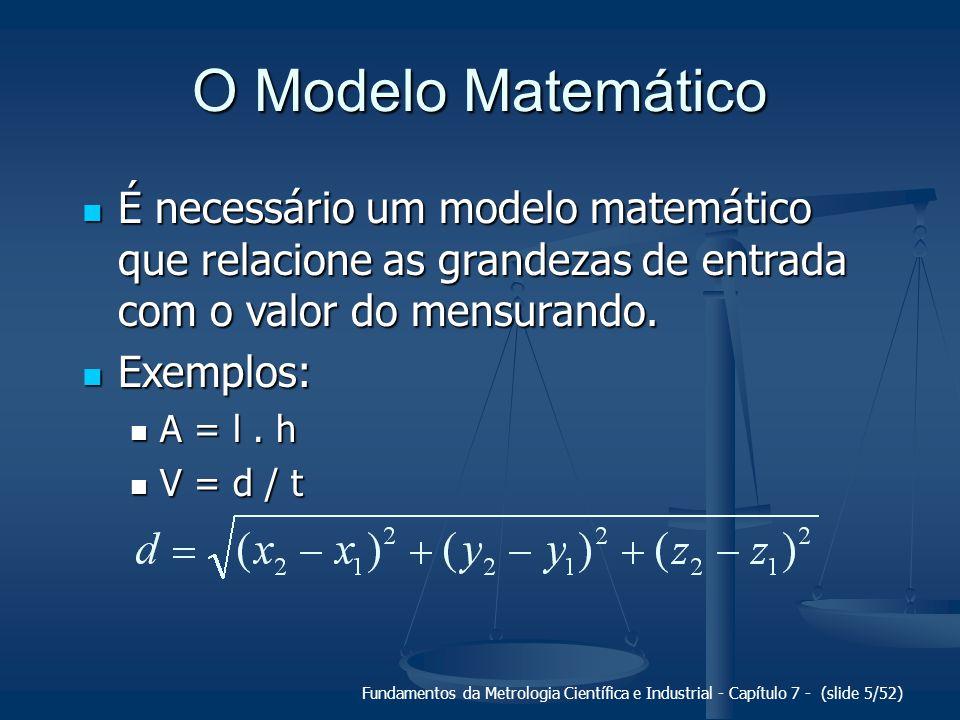 Fundamentos da Metrologia Científica e Industrial - Capítulo 7 - (slide 46/52) Caso Geral de MC Incerteza máxima possível u(A) = 3 e u(B) = 4 (a) Não correlacionadas: (b) Correlação direta: u(G) = u(A) + u(B) = 3 + 4 = 7 (c) Correlação inversa: u(G) = |u(A) - u(B)| = |3 – 4| = 1 (d) Máxima possível: