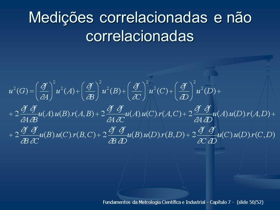 Fundamentos da Metrologia Científica e Industrial - Capítulo 7 - (slide 50/52) Medições correlacionadas e não correlacionadas