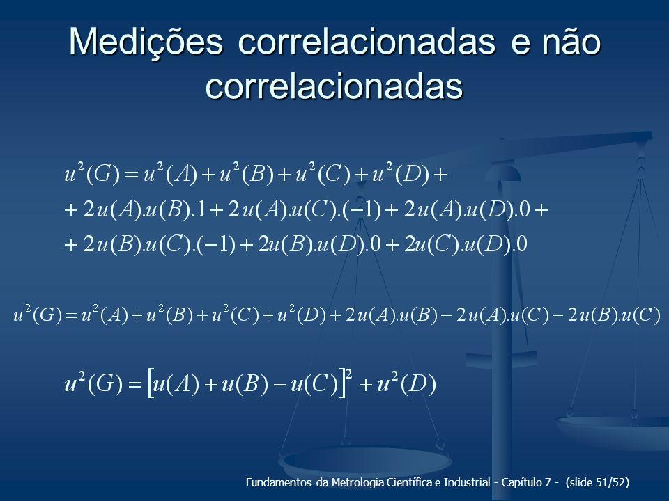 Fundamentos da Metrologia Científica e Industrial - Capítulo 7 - (slide 51/52) Medições correlacionadas e não correlacionadas