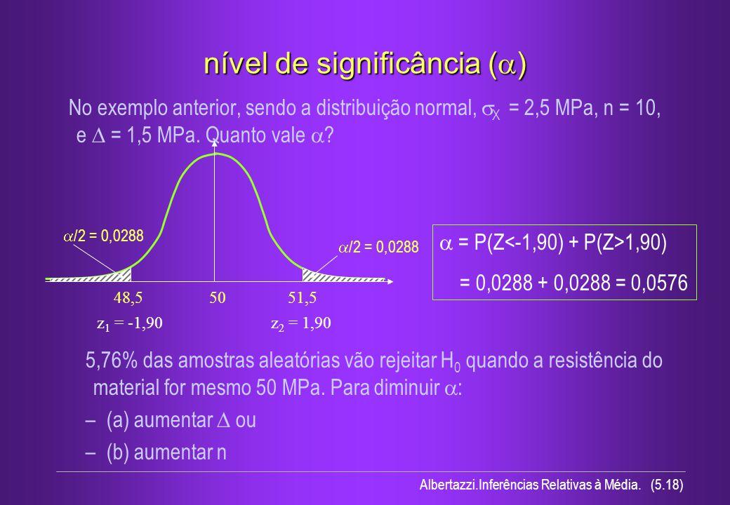 Albertazzi.Inferências Relativas à Média. (5.18) nível de significância ( ) No exemplo anterior, sendo a distribuição normal, X = 2,5 MPa, n = 10, e =