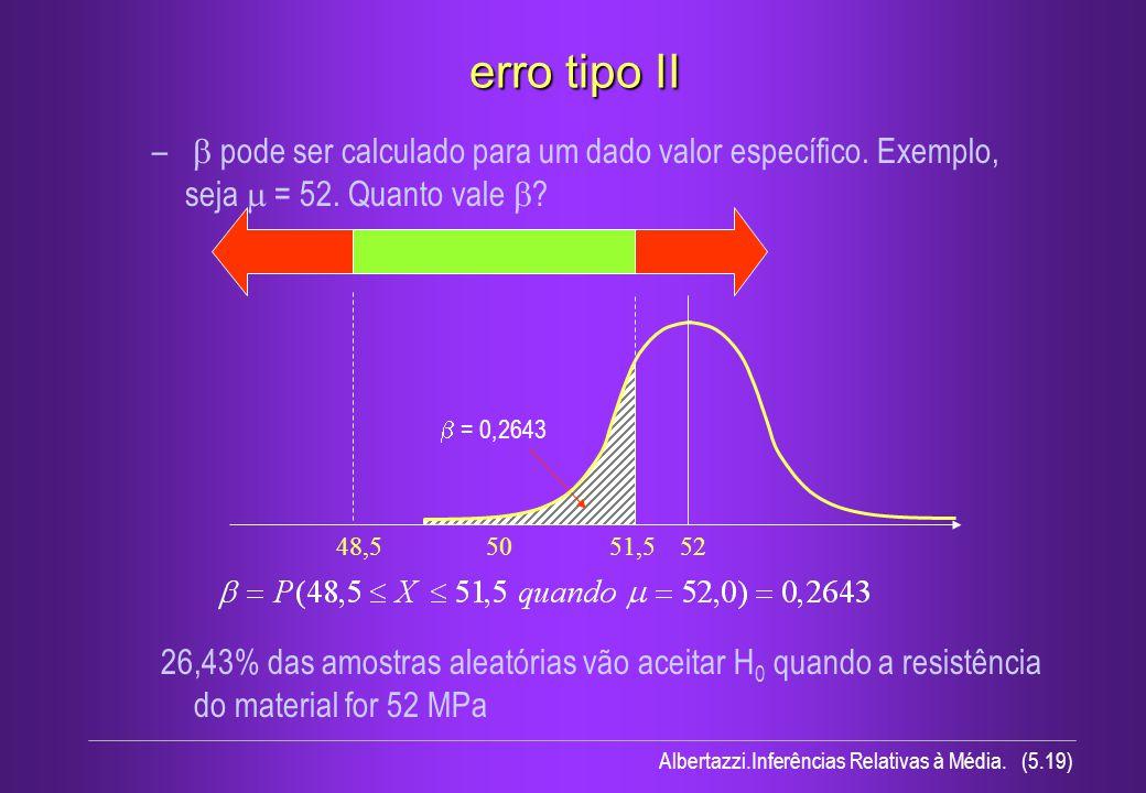 Albertazzi.Inferências Relativas à Média. (5.19) erro tipo II – pode ser calculado para um dado valor específico. Exemplo, seja = 52. Quanto vale ? =