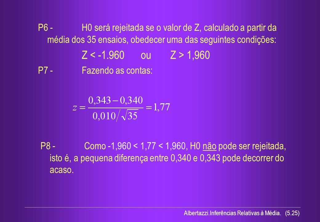 Albertazzi.Inferências Relativas à Média. (5.25) P6 - H0 será rejeitada se o valor de Z, calculado a partir da média dos 35 ensaios, obedecer uma das
