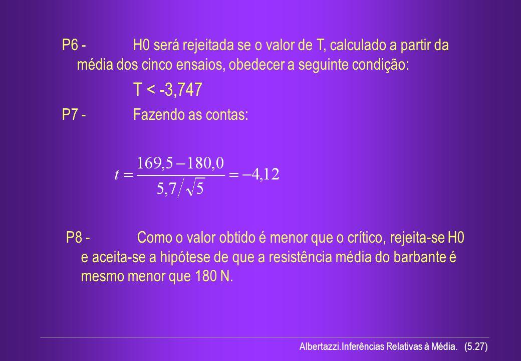 Albertazzi.Inferências Relativas à Média. (5.27) P6 - H0 será rejeitada se o valor de T, calculado a partir da média dos cinco ensaios, obedecer a seg