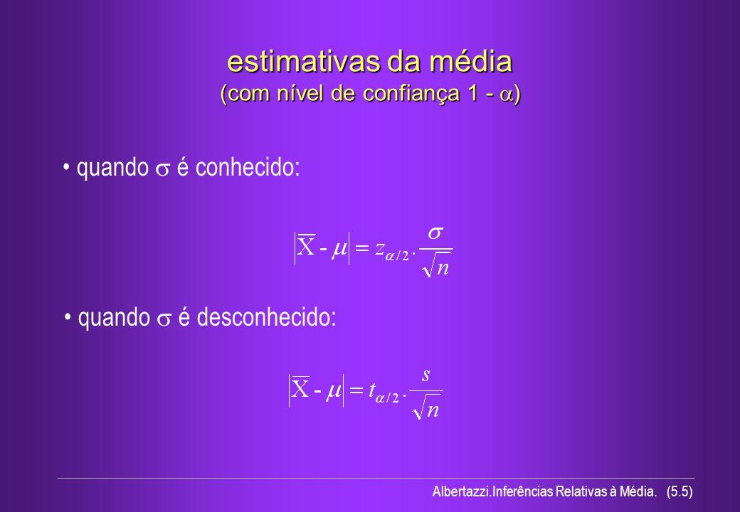 Albertazzi.Inferências Relativas à Média. (5.5) estimativas da média (com nível de confiança 1 - ) quando é conhecido: quando é desconhecido: