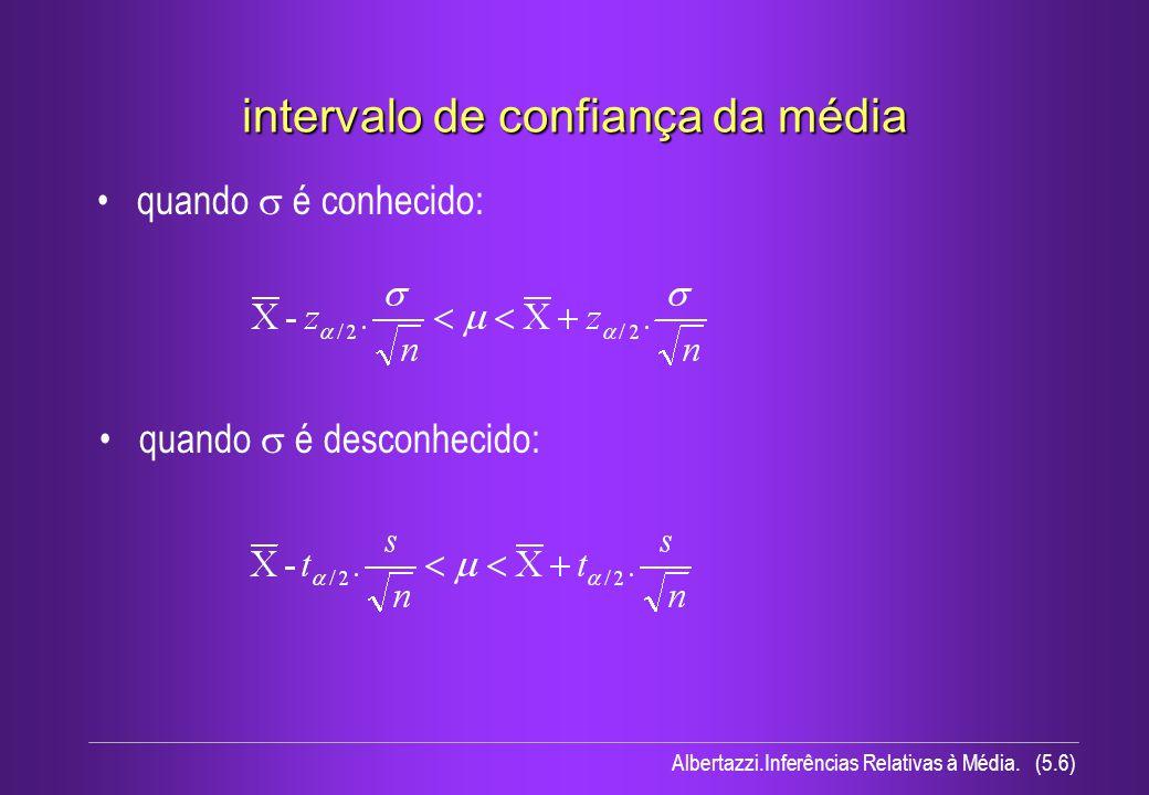Albertazzi.Inferências Relativas à Média. (5.6) intervalo de confiança da média quando é conhecido: quando é desconhecido: