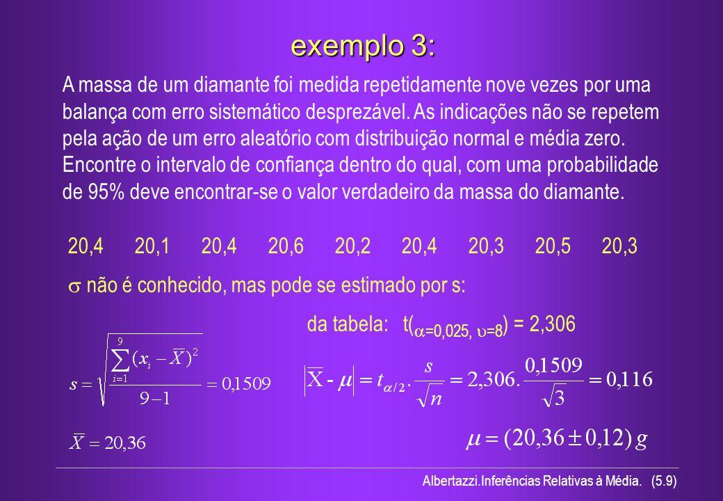 Albertazzi.Inferências Relativas à Média. (5.9) exemplo 3: A massa de um diamante foi medida repetidamente nove vezes por uma balança com erro sistemá