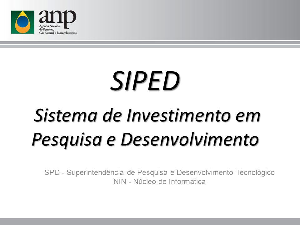 SPD - Superintendência de Pesquisa e Desenvolvimento Tecnológico NIN - Núcleo de Informática SIPED Sistema de Investimento em Pesquisa e Desenvolvimen