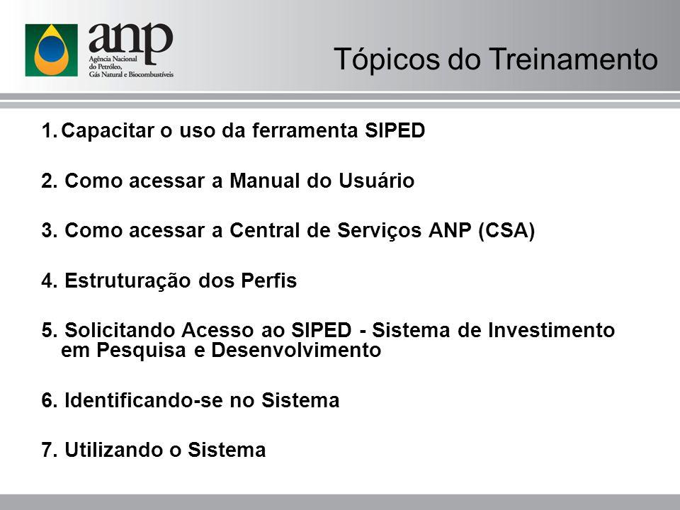 Tópicos do Treinamento 1. Capacitar o uso da ferramenta SIPED 2. Como acessar a Manual do Usuário 3. Como acessar a Central de Serviços ANP (CSA) 4. E