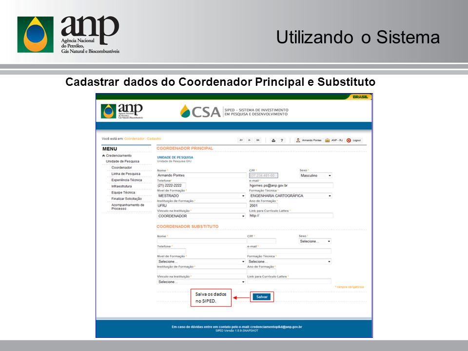 Cadastrar dados do Coordenador Principal e Substituto