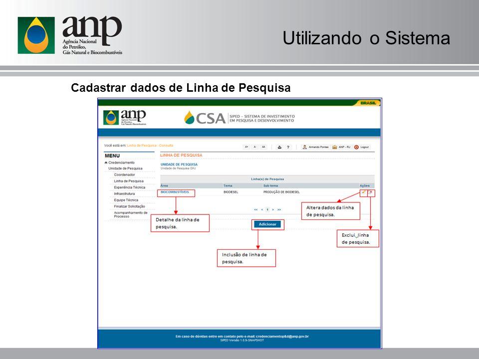 Utilizando o Sistema Cadastrar dados de Linha de Pesquisa