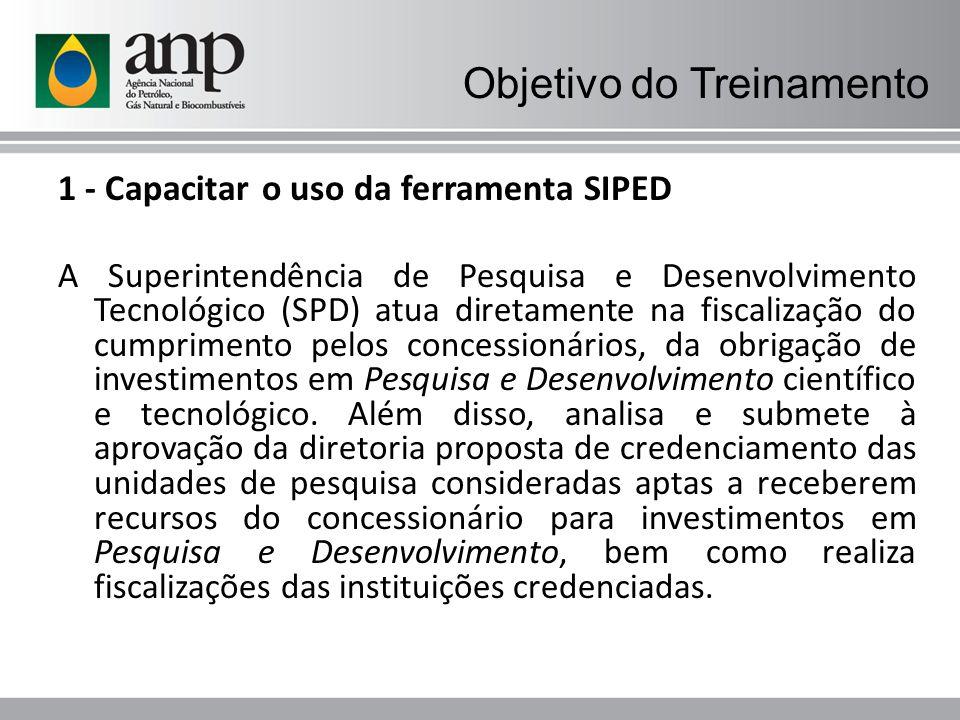Objetivo do Treinamento 1 - Capacitar o uso da ferramenta SIPED A Superintendência de Pesquisa e Desenvolvimento Tecnológico (SPD) atua diretamente na