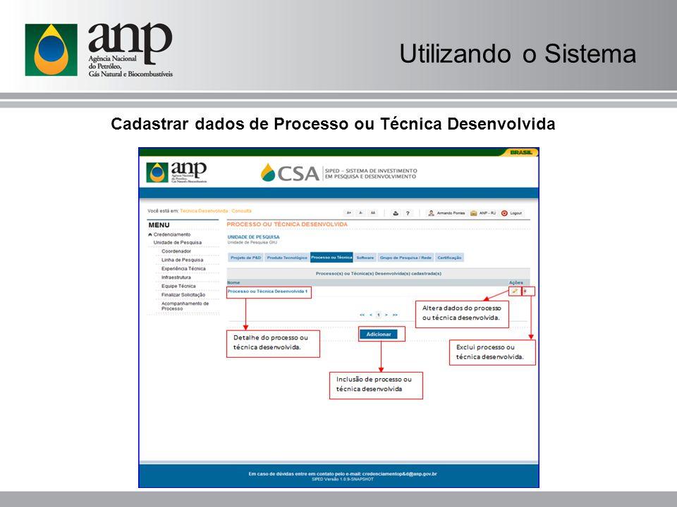 Cadastrar dados de Processo ou Técnica Desenvolvida