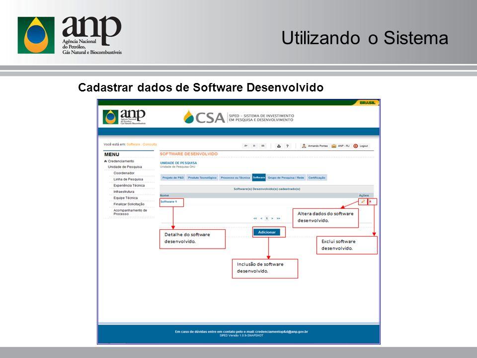 Cadastrar dados de Software Desenvolvido