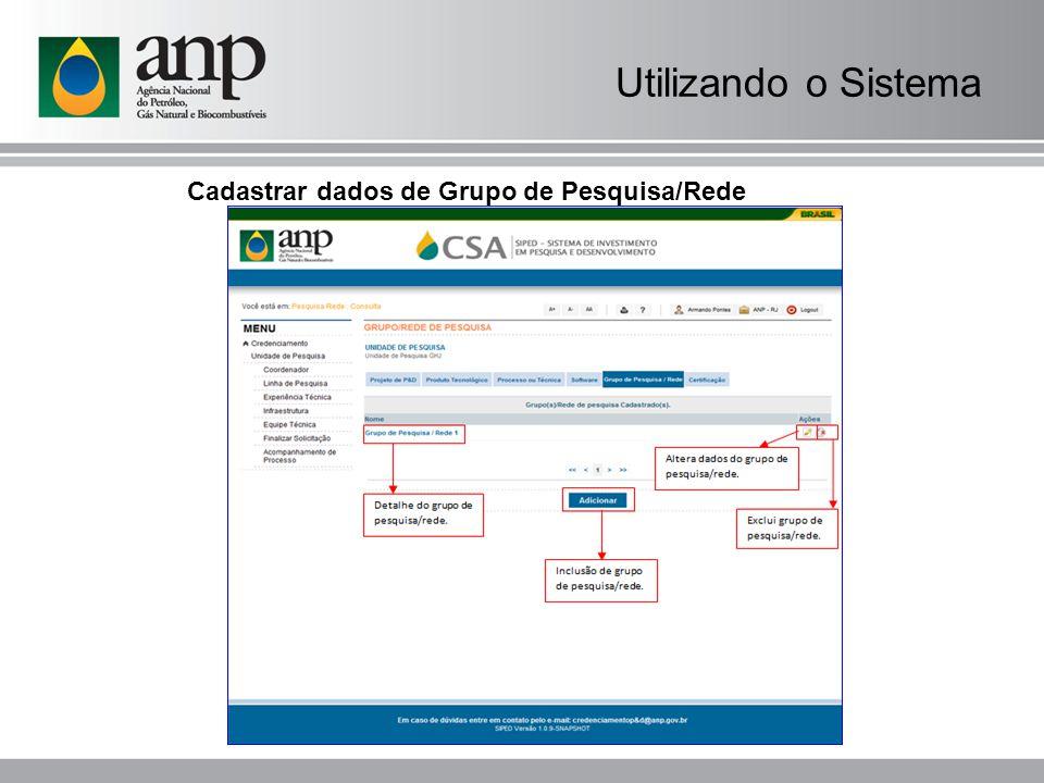 Cadastrar dados de Grupo de Pesquisa/Rede