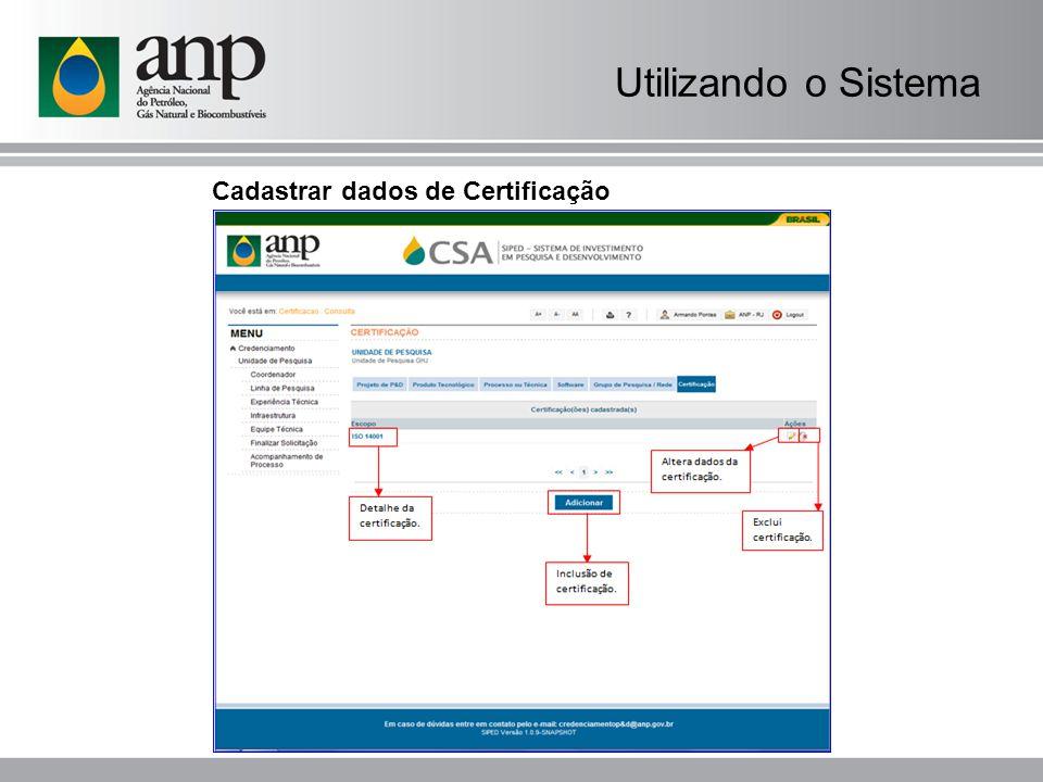 Cadastrar dados de Certificação