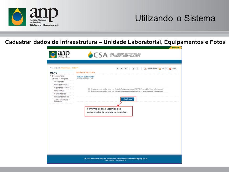 Cadastrar dados de Infraestrutura – Unidade Laboratorial, Equipamentos e Fotos